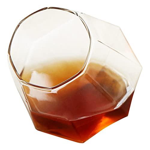 Takagawa HHH Rotación Redonda de la Boca de Whisky Copa de Cristal Ajuste para Beber Whisky Cerveza y Copas de Vino Tinto Copa Bar Bar Set -40 HHH (Color : White)