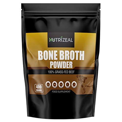 NUTRIZEAL - Beef Bone Broth Powder – 400g Bone Broth 100% Grass Fed – Premium Collagen Powder with No Dairy, Gluten, Soy – Rich in Amino Acids and Nutrients – Ideal for Bone Strength and Density