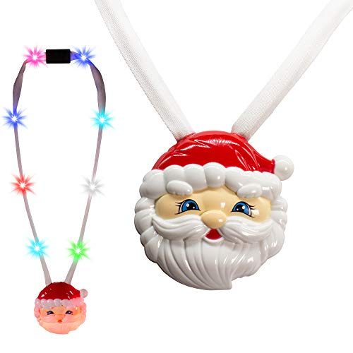 4 Pack - LED Light Up Christmas Santa Claus Necklace Pendant Breakaway Lanyard