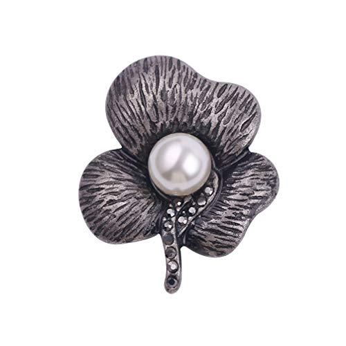 Amosfun Flor de Perla Rosa Broche Alfiler Solapas de Cristal Joyería Boda Nupcial Día de San Valentín Regalo (Negro)