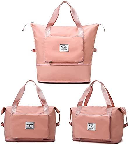Bolsa de viaje plegable de gran capacidad, bolsa de viaje de gran capacidad, para separar la humedad y el secado, bolsa de deporte, bolsa de viaje, bolsa de yoga, rosa,