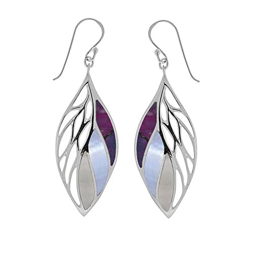 Boma Jewelry Sterling Silver Purple Turquoise, Purple Mother-of-Pearl, Mother-of-Pearl Leaf Earrings