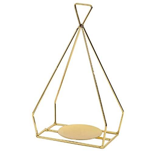 Soporte de candelabros Sostenedor de vela de lujo romántica nórdica de oro del sostenedor de vela adornos de hierro forjado cena a la luz metal del hogar para la decoración del hogar ( Color : Gold )