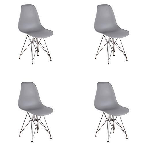 N/A 4er Set Inspirierte Eiffel DSR Kunststoff-Esszimmerstühle mit Metallbeinen Modern Gestaltete Esszimmerstühle für Lounge, Büro und Zuhause (Grau)