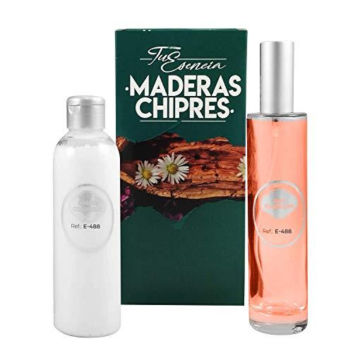Pack Tu Esencia Amaderada Esenssi • Perfume E-488 Narcis Red 100 ml + Crema Corporal Perfumada E-488 200 ml • Acordes similares a Narciso Rouge, Abercrombie Fierce y Loewe 001