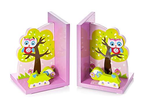 Boekensteunen kinderen roze uilen van hout voor meisjes