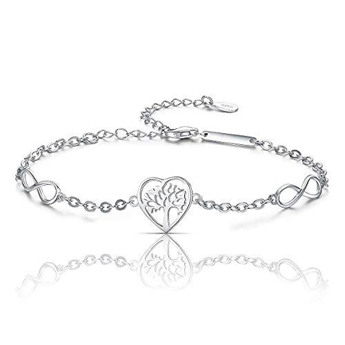 Pulsera de plata de ley 925 para mujer, con diseño de árbol de la vida, con el símbolo del infinito, el amor