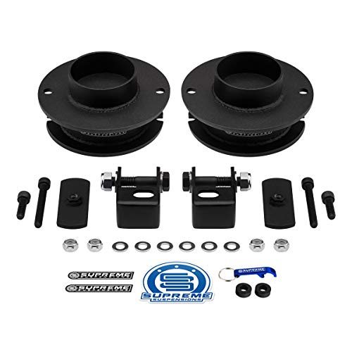 """Supreme Suspensions - Front Leveling Kit for Ram 2500 3500 4WD 2.5"""" Front Lift Kit High-Strength Steel Spring Spacers + Shock Mounts Relocation Brackets"""