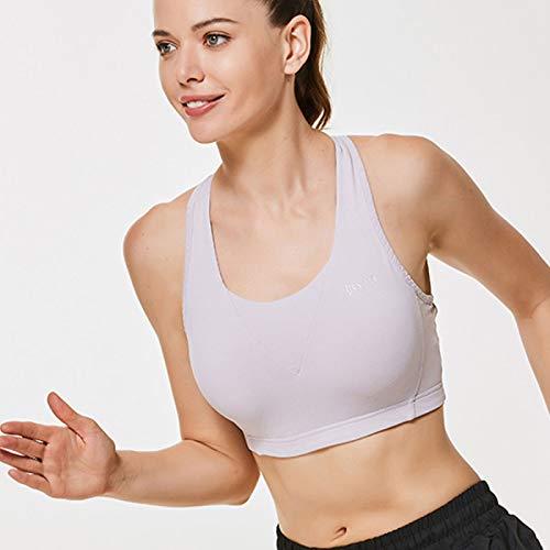 FOGUO Sujetador Deportivo Mujer Material Cómodo Sin Costuras Almohadilla Desmontable para Gimnasio Yoga Bailar,Pink-Small