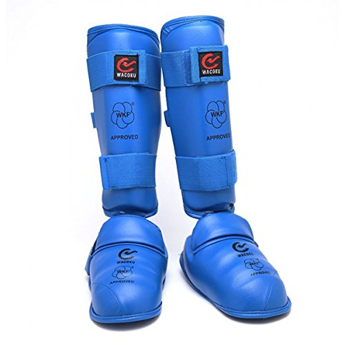 Wacoku WKF Approved Karate Shin and Removable Instep Pads (Blue, M (4.33 X 12.20))