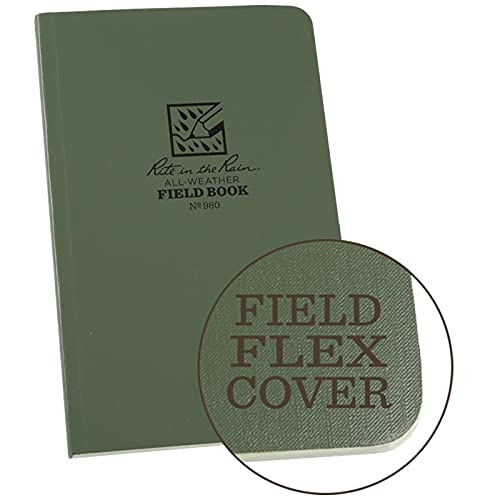Rite In The Rain Weatherproof Tactical Field Notebook, 4 5 8  x 7 , Green Cover, Universal Pattern with Reference Materials (No. 980), One Size (980L)