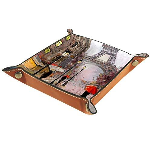 LynnsGraceland Bandeja de Cuero - Organizador - Vista de la Calle de París Torre Eiffel - Práctica Caja de Almacenamiento para Carteras,Relojes,Llaves,Monedas,Teléfonos Celulares y Equipos de Oficina