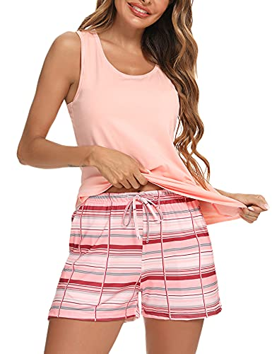 Akalnny Pijama Mujer Verano sin Mangas Suave Cómodo Conjunto de Pijama Corto a Cuadros Ropa de Dormir Estar por Casa Loungewear