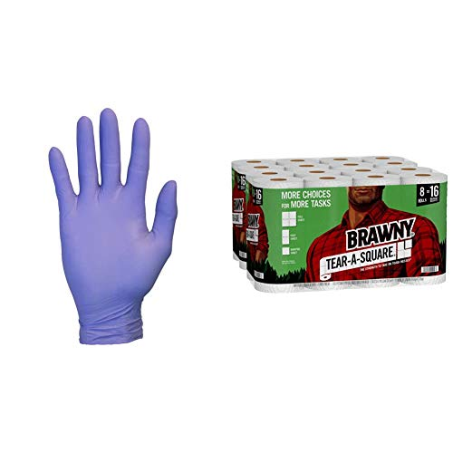 Nitrile Exam Gloves - Medical Grade, Convenient Dispenser Pack of 100, Size Medium & Brawny Tear-A-Square Paper Towels, 16 Double Rolls = 32 Regular Rolls, 3 Sheet Size Options, Quarter Size Sheets