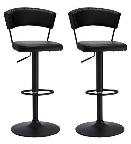 FURNHOUSE Set med 2 svarta svängbara barstolar i konstläder stolar frukost matstolar för köksö disk bar preben, svart metallhöjd justerbart bas och fotstöd, SH: 55-80 cm