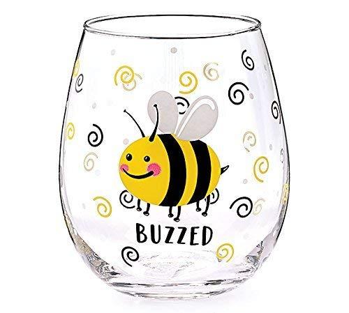 BUZZED BEE STEMLESS WINE GLASS, 4 1/2