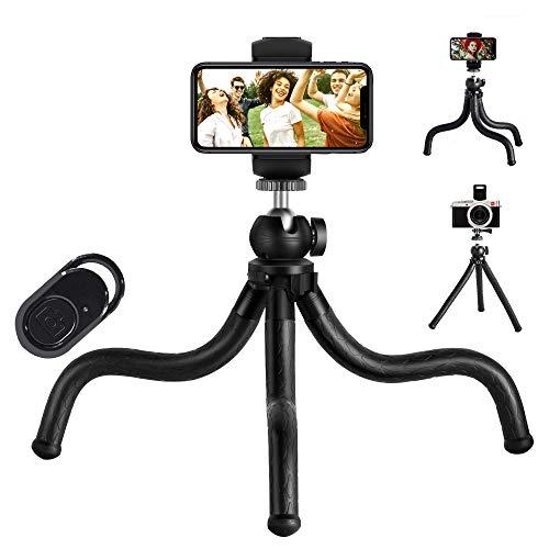 Trípode de viaje flexible de pulpo para iPhone, Android, GoPro, DSLR, IPAD, cámara de acción, con obturador remoto inalámbrico, soporte universal 2 en 1 (nueva versión)