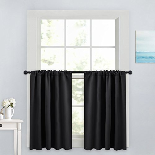 PONY DANCE Blackout Curtain Tiers - Window Treatment Rod Pocket Home Decor Small Panels Valances for Nursery/Bay Windows Bathroom, 42 x 36 inch, Black, 2 Pieces