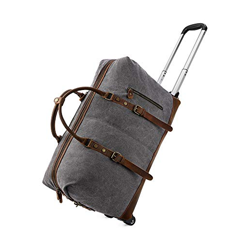 Kattee Rolling Travel Luggage Duffel Bag, 2 Drop Bottom Wheeled, Leather + Canvas, 50L (Dark Gray)