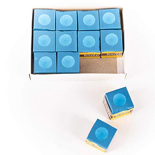 Billares y Dardos Cámara Tiza Billar Caja de 12 Unidades de Billar Tiza en Color Azul, tizas para Tacos de Billar