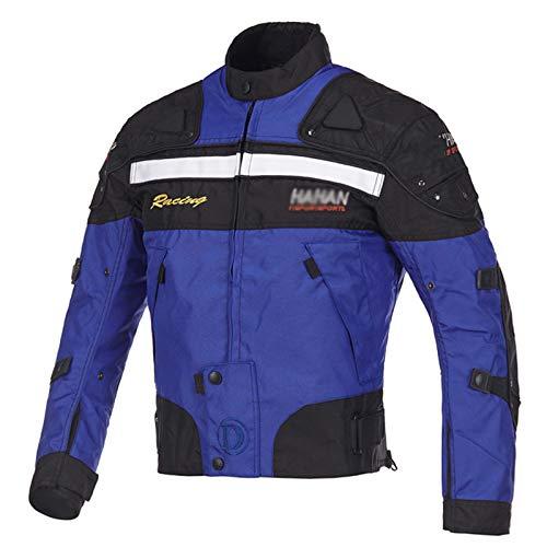 QQA Étanche pour Moto Scooter Rider Veste Blouson Moto Homme Sport avec Armure Protections homologuées CE,Bleu,XXL