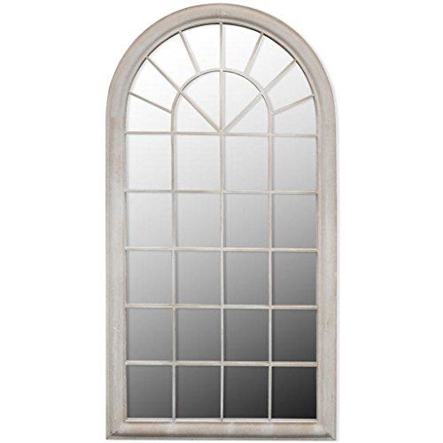 Tidyard Espejo rústico de Arco para jardín de Hierro y Cristal 115 x 50 cm Blanco Anticuado
