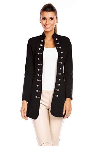 6062 Damen Jacke Blazer Admiral Uniform Mantel mit Military Knopfleiste Schwarz-M