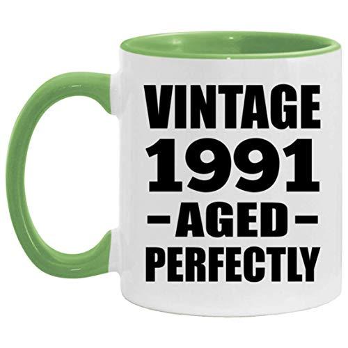30th Birthday Vintage 1991 Aged Perfectly - 11oz Accent Mug Green Kaffeebecher 325ml Grün Keramik-Teetasse - Geschenk zum Geburtstag Jahrestag Weihnachten Valentinstag