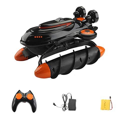 YIQIFEI 2.4G aerodeslizador de Remo Remoto a Prueba de Agua en Movimiento Coche Anfibio Juguete Mini-Drone frenado Infantil Nave Multifuncional (Coche RC)