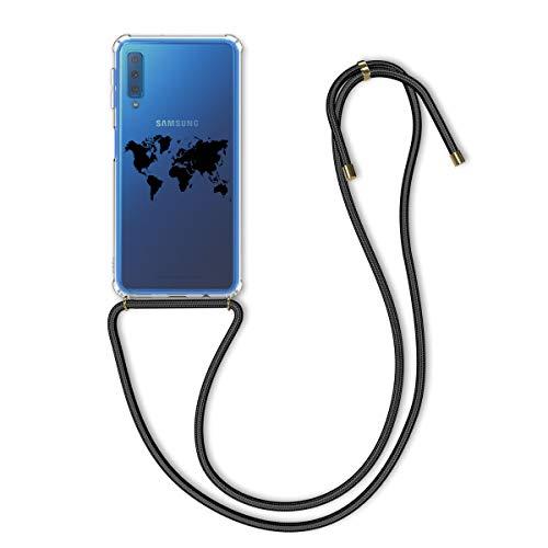 kwmobile Schutzhülle kompatibel mit Samsung Galaxy A7 (2018) - Hülle mit Kordel zum Umhängen - Silikon Handy Hülle Travel Umriss Schwarz Transparent