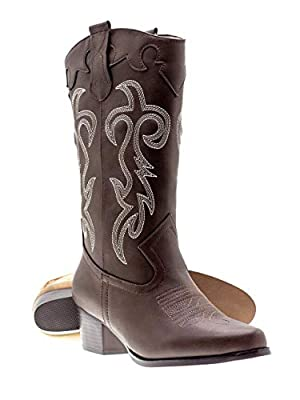 Canyon Trails Women's Classic Embroidered Pointed Toe Western Rodeo Cowboy Boots (8 (M) US Women's, Brown)