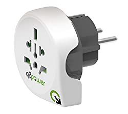 International travel adapter for Europe, this handy all-in-1 world to Europe wall plug adapter is designed to allow plugs from all over the world to power your devices in type F Schuko socket outlets, commonly used in Germany, Austria, Netherlands, S...