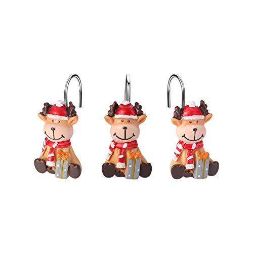 FITNATE 12PCS Anti-Rust Reindeer Shower Curtain Hooks for Winter, Thanksgiving, Christmas, Resin Decorative Curtain Hooks Used in Bathroom, Bedroom and Living Room, Gift Set