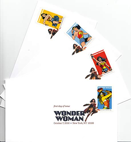 USPS Wonder Woman Four Digital Color Postmark First Day Covers Forever Postage Stamps