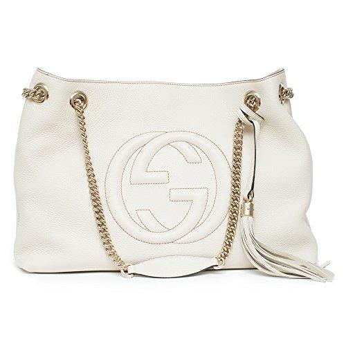 Gucci Womens Soho Leather Chain Straps Shoulder Handbag White Large