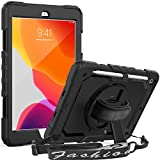 SEYMAC iPad 8th/7th Generation Case, iPad 10.2 Case 2020/2019 Full Body Protection Case with Screen Protector Pencil Holder 360° Hand Strap Stand Shoulder Strap for 10.2 inch iPad 8th 7th Gen -Black