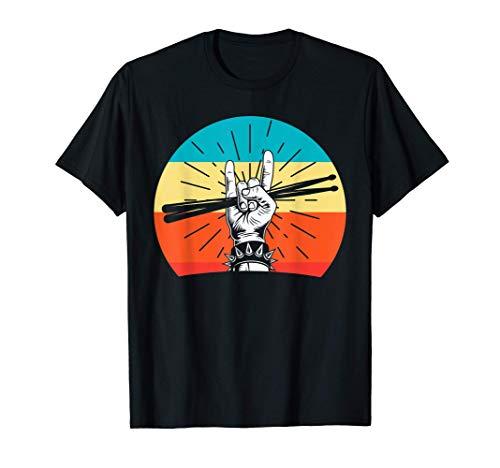 Drummer Retro Baguette De Batterie Drôle Cadeau Batterie T-Shirt
