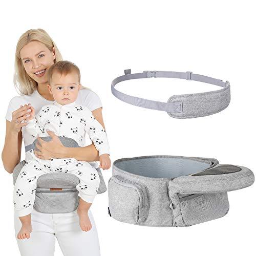 Lictin Asiento de Cadera Portabebes-Asiento de Cadera con Cinturón de Seguridad Ajustable 5 Posiciones de Ángulo Ajustable,Diseño Ergonómic para Bebé de 6-36 Meses (Máximo 20 Kg / 44 Libras)