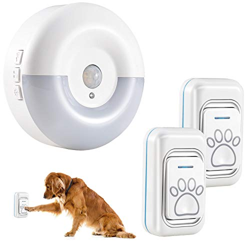 Opibtu Dog Door Bell Wireless Dog Doorbell for Potty Training with Waterproof Touch Button Dog Bells(1 Receiver &2 Transmitter)