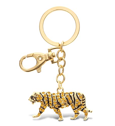 Aqua79 Tiger Keychain - Gold 3D Sparkling Charm Rhinestones Fashionable Stylish Metal Alloy Durable Key Ring Bling Crystal Jewelry Accessory With Clasp For Key Chain, Bag, Purse, Backpack, Handbag