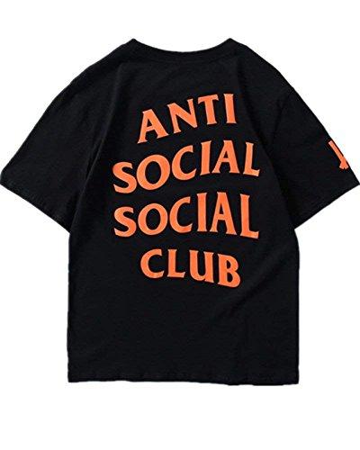 Unisex Hip Hop Mode Anti Social Social Club T-Shirt Sweat Tee Style Tee (Schwarz, XL)