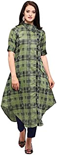 Inddus Green Chanderi Cotton Woven Kurta With Cotton Solid Palazzo