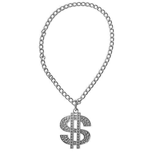 Spassprofi Silbernes Dollar Medaillon mit Kette für Kostüme oder zum Protzen