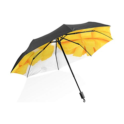 Uotdoor Parapluie Coupe De Mangue Fruits Tropicaux Portable Compact Parapluie Pliant Anti UV Protection Coupe-Vent en Plein Air Voyage Femmes Unique Parapluies pour Les Femmes