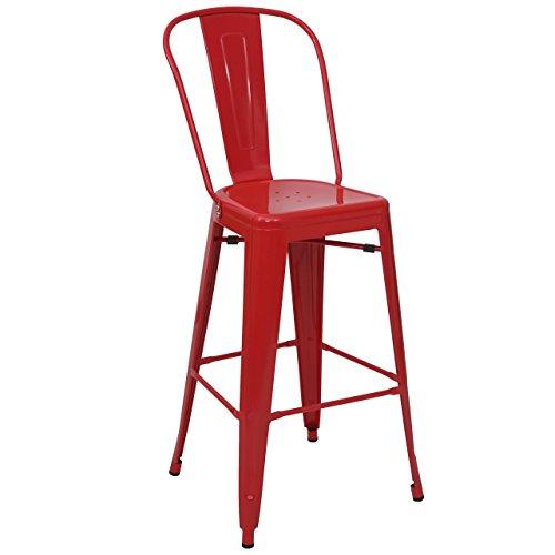 Mendler Tabouret de Bar HWC-A73, Chaise de comptoir, métal, empilable, Design Industriel ~ Rouge