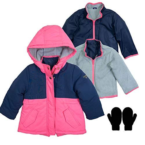 OshKosh Toddler Fleece Lined Interchange System Jacket and Mittens Pink/Navy 2T