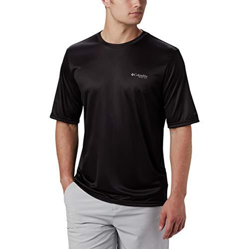 Columbia Men's Terminal Tackle PFG Hooked Short Sleeve Shirt, Black/Sorbet, Medium