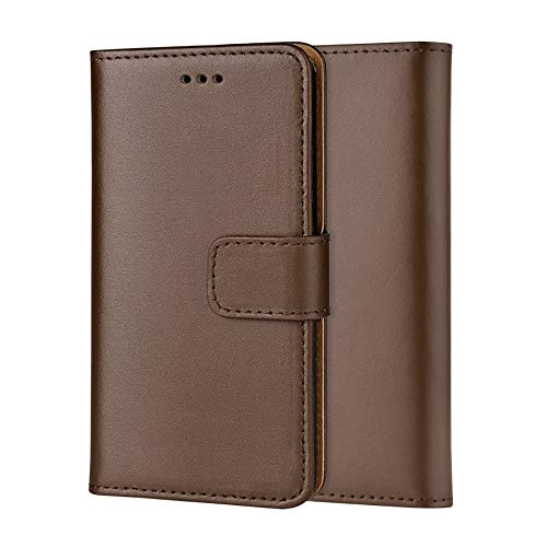 ameego Premium Genuine Real Leather Flip Wallet Magnetic Kickstand Slim Book Case Cover for Samsung Galaxy S4 Leather Wallet Book Flip Case Cover (Brown)