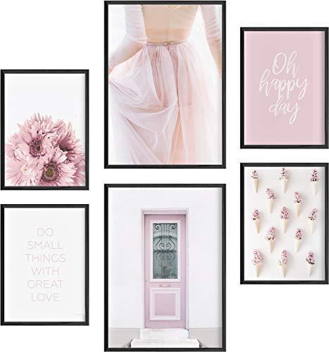 Mia Félice Deko Bilder für das Wohnzimmer modern und angesagt, Premium Poster Set » Sweet Pink « Tumblr Deko Wand Bild, Dekoration Wohnung modern, Deko Schlafzimmer, Zimmer Deko OHNE BILDERRAHMEN