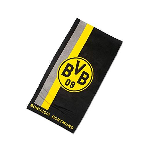 Borussia Dortmund, BVB-Handtuch mit Logo im Streifenmuster, Schwarz / Gelb, 50x100cm